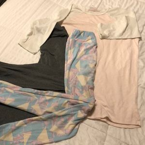 LulaRoe Bundle one top two leggings